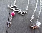 Silver Love Red Sea Sediment Jasper Bead Crystal Cross Pendant Necklace Jewelry Christian God Religious