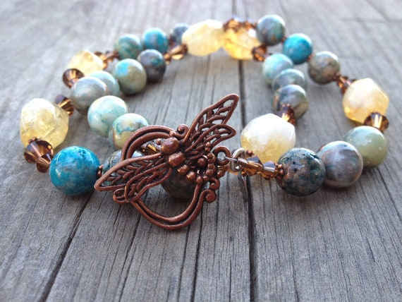 Dragonfly Copper Yellow Citrine, Blue Agate, Crystal Beaded Necklace