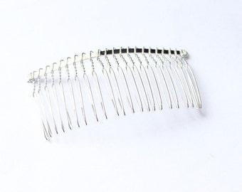 "Silver Plated Metal Bridal Wedding Veil Hair Comb Clip 3"""