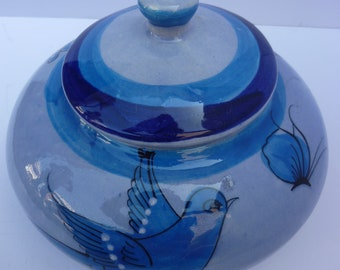 Mexican Ceramic Covered Jar  Tonala Folk Art Dish Ken Edwards Style 1970s