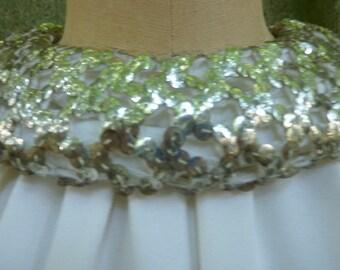 REDUCED 1960s Mod Mini Dress A-Line White Crepe Wedding Dress  Prom Dress with Sequin Neckline Size Medium