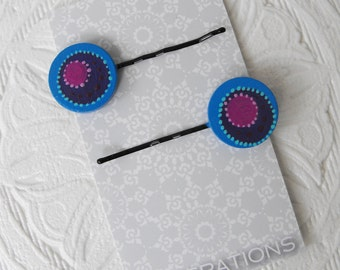 Bobby Pins - A pair (2) Hair Accessories - Hand Painted on Wood - Cool Blue and Purple Colored Circles