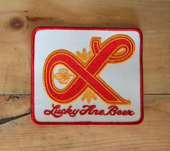 Vintage 70s LUCKY Lager PATCH / Large Unused Beer Patch