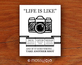 Life is camera inspirational quote wall art office decor for Inspirational items for office
