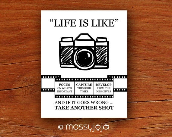 life is camera inspirational quote wall art office by