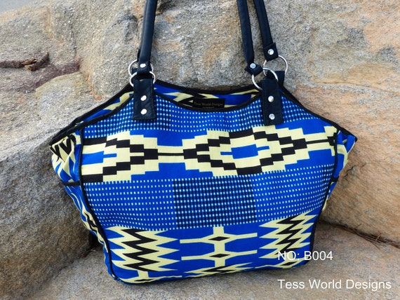Handmade African Kente print cotton fabric Handbag Purse Tote Purse by TessWorldDesgns on Etsy