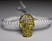 Gold skull bracelet with rhinestones
