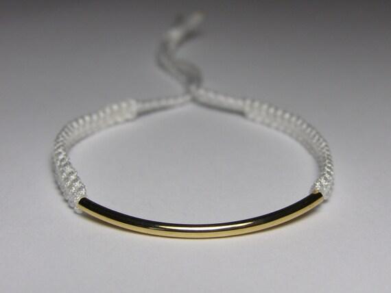 Gold bar macrame bracelet