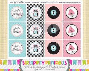 "1950's Sock Hop -Printable 2"" Party Circles"