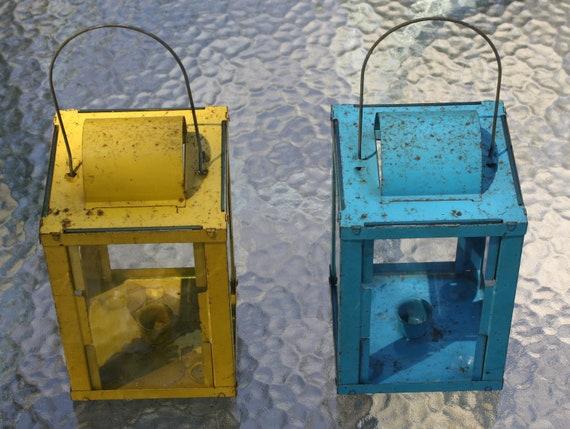 Pair of vintage lanterns - candle holders