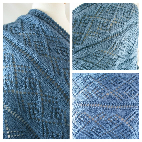 Ladder Lace Knitting Pattern : Ladder and Lace Hand Knit Shawl Country by JazzitUpwithDesigns
