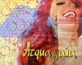 Redhead-OOAK 10x10 on canvas mixed media original collage featuring Italian pinup advertisement