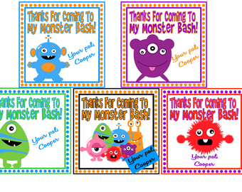 Monster Party Favor Tags - Birthdays, Baby Showers, Halloween, Favor Tags DIY Printable File