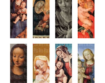 Virgin Mary Collage Sheet - 1 x 3 inch rectangle digital collage - Madonna - microscope slide collage sheet - Instant Download