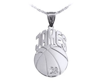 "Basketball Sport Charm 1 1/4"" Personalized with Name and Number - Sterling Silver - Made in USA"