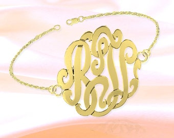Monogram Bracelet - 1 inch Monogram 7 inch 24K Gold Plated Sterling Silver Handcrafted - Personalized Initial Bracelet - Made in USA