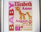 Personalized Baby Girl or Boy Birth Announcement - 8x10 Print - Custom Print Giraffe Wall Art - Colors can be changed