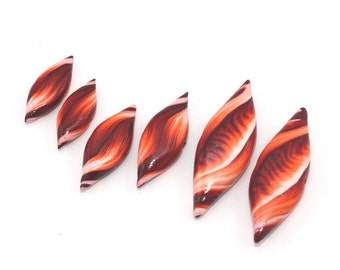 Leaf shaped beads in maroon, red, orange and white, Polymer Clay beads, unique pattern, set of 6 beads, Marquise beads