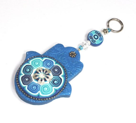 Hamsa Polymer clay wall decor, Good fortune Hamsa in blue, white and turquoise