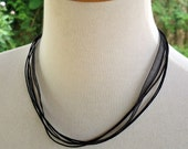 5 x Organza Ribbon/Cord 40cm Long BLACK  Necklace - Pack of 5