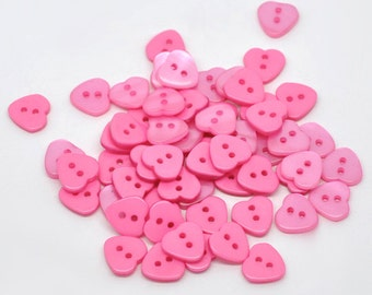 Hot Pink Fuscia Heart Shaped Resin Plastic Buttons Two Holes for Sewing Knitting Crocheting Craft Jewelry Scrapbooking Art Clothes Set of 20