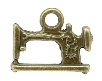 10 Antique Bronze Sewing Machine Charm Pendant 19 x 15mm - Pack of 10 CP25