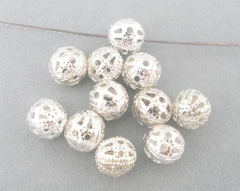 10 Silver Plated Ornate Filigree Spacer Beads 6mm for Necklace, Craft, Jewelry  - Pack of 10 JF42