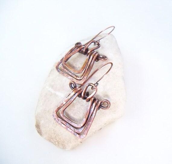 Copper swing earrings