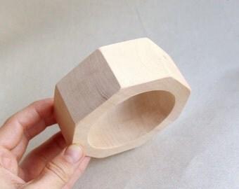 35 mm Wooden bracelet unfinished round octahedral - natural eco friendly OKT35
