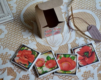 4 piece ceramic tile magnet set in gift box red flowers