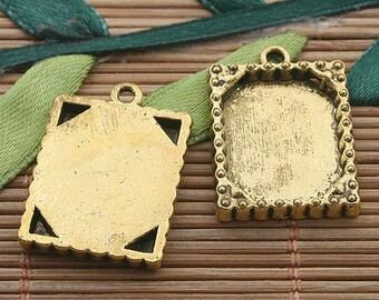 15pcs dark gold tone picture frame charm h3389