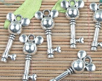 Alloy metal Tibetan Silver color key shaped charms 26pcs EF0143