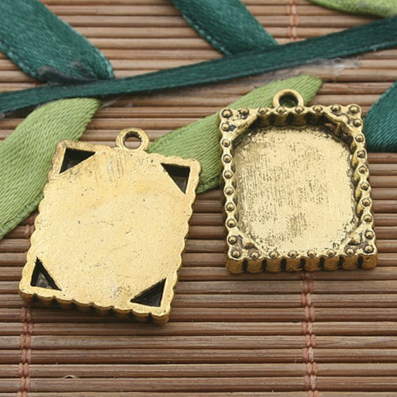 15pcs dark gold tone picture frame charm h3389