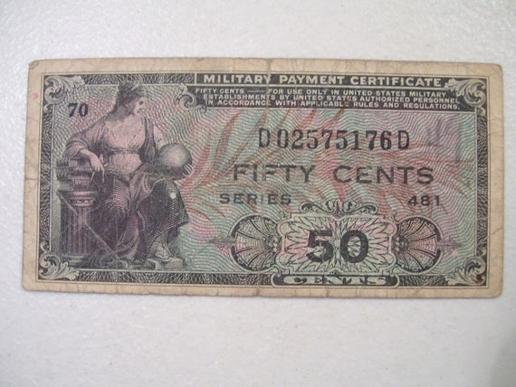 1951 Issue Military Payment Certificate, 50 cents, Military Money Note
