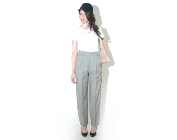 ESCADA Wool/Silk Plaid High Waist Trousers