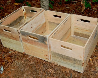 Three Wood Crates/ Recycled Pallet/ Wooden Crate/ Unfinished/ Storage