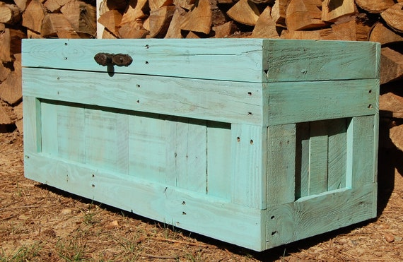 Turquoise Hope Chest from Reclaim Wood/ Coffee Table/ End of the Bed Bench /