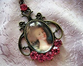 Lovely Marie Antoinette Oval Necklace with Swarvoski Crystals French Cottage Chic