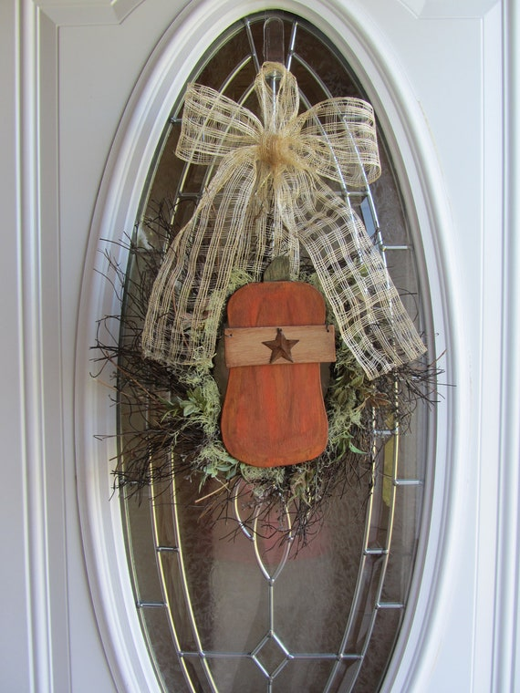 Pumpkin wreath - Fall Wreath - Autumn Wreath - Fall Door Wreath