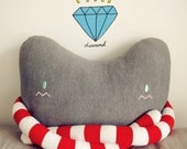 handmade--cat Pillow with long long arms,Cushion-Large red