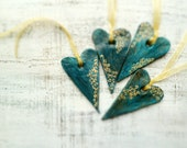 Set of 4 rustic hearts Valentine Day, Valentine gift teal green gold home decor gift for couple