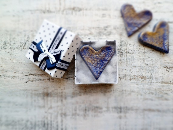 Rustic shabby heart magnet Valentine Day decor, Valentine gift bronze navy blue gift for him