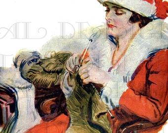 Art Deco Christmas FLAPPER Knitting. VINTAGE  Illustration. Art Deco Digital Christmas Download