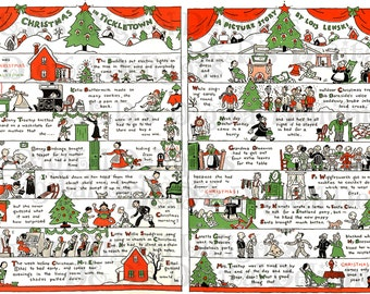 LARGE 2 Page Spread Christmas Poem. Retro Christmas Vintage Illustration. Christmas Digital Download