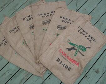 Burlap Coffee Bags Set of 6 Dunn Brothers Colombia Snake Barstool Upholstery/Throw Pillow/Kids Sack Race DIY Set