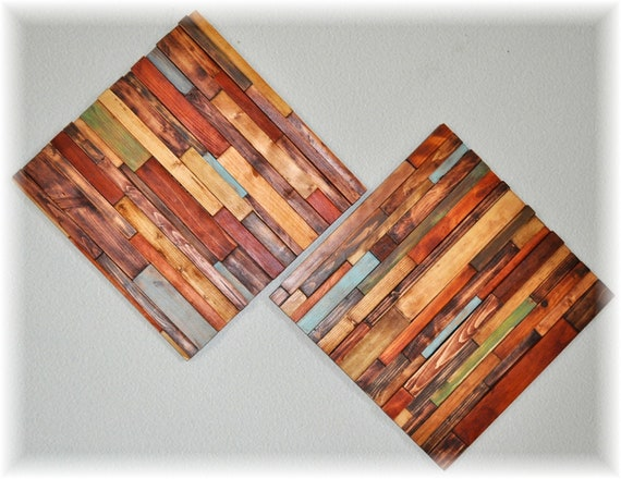 Modern rustic  Wood Art 15x15, 2 pc Modern wall hanging, made to order