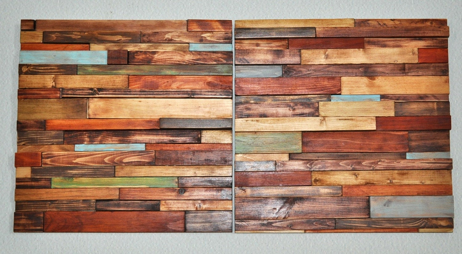 Modern Rustic Wood Art 15x15 2 Pc Modern Wall Hanging Made