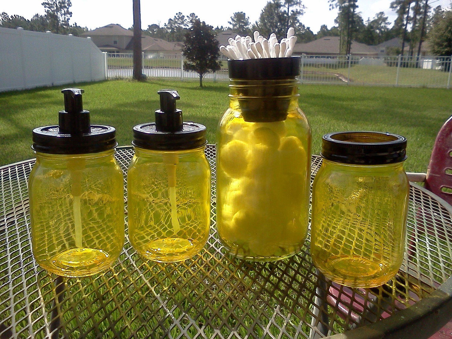BATHROOM SET - Cotton - Q-Tip - Soap Dispensers - Toothbrush - Mason Jars -  Yellow and black