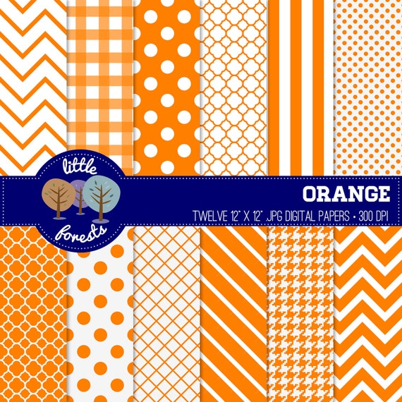 Orange Digital Paper Pack - 12 x 12 - chevron, stripes, dots, quatrefoil - BUY 2 GET 1 FREE