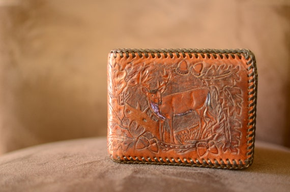 Vintage Hand Tooled Leather Men's Wallet